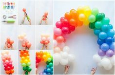 décoration anniversaire en ballons gonflables arc-en-ciel- matériel et étapes