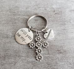 Will you be my Godmother, SILVER KEYRING, Godmother gift, Godmother Keychain, Gift for Godmother, Baptism Gift, Godmother Jewelry, Gifts by SAjolie, $18.95 USD