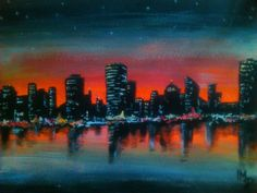 Night City #malarstwo #tempera #miasto #noc #painting #night #playwithcolour by magdalleenna