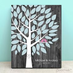 Rustic Darkwood Wedding Tree Guest Book Alternative - Wedding Wish Tree - By Peachwik