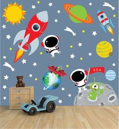 Space Wall Decal with Astronaut, rocket, and moon for Baby Nursery or Boy's Room Nursery Decals and More http://www.amazon.com/dp/B00FHBS5P4/ref=cm_sw_r_pi_dp_eqh3wb1BFNQ5A
