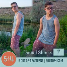 Daniel Shorts size small Pdf Sewing Patterns, Print Patterns, Sewing Men, Patterned Shorts, Tank Man, Knitting, Mens Tops, Fashion, Moda