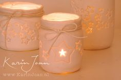 DIY handmade Clay Star Jar Candle Holder VIDEO tutorial -  Turn mason jars and other jars into Christmas Candle Holders - another Karin Joan Craftproject
