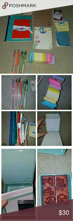 Stationary bundle. Notepads gel pens Gel pens, small post it notes, polla dot notepad new, nautical notepad new, weekly planner used, pocket planner new, butterfly notepad used, butterfly sticky pad new, blue sm notepad used, complaint stickies used, winnie the pooh stamps. Other