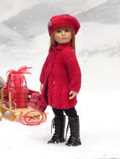 "Braemar PDF knitting pattern for a winter coat & tam by Debonair Designs for slim 18"" Kidz n Cats dolls"