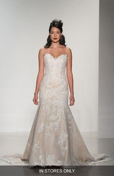 Matthew Christopher 'Daniella' Strapless Lace Trumpet Gown (In Stores Only) available at #Nordstrom