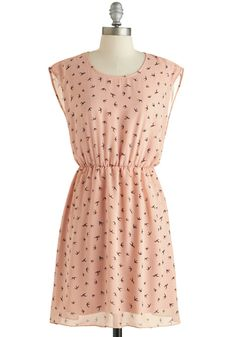 Girl Next Soar Dress - Sheer, Pink, Brown, Print with Animals, Casual, A-line, Sleeveless, Scoop, Exclusives