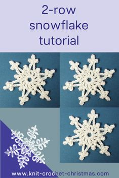 Easy 2-row crochet snowflake pattern and videotutorial