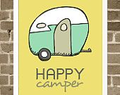 Happy Camper - Illustration of Vintage Camper - Typography and Illustration Print - Mustard Yellow and Aqua - Retro Camping and Travel Art $35