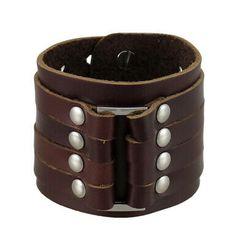 Zeckos Brown Leather 4 Strap Wristband Wrist Band Chrome Studs for sale online Beard Growth Kit, Beard Grooming Kits, Armor Ring, Turquoise Cuff, Adjustable Bracelet, Bracelet Sizes, Bracelet Designs, Stainless Steel Bracelet