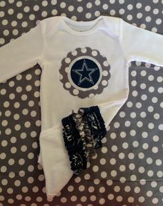 Daddy would love this on her. Baby Girl Dallas Cowboy Onesie by harperhewitt on Etsy, $24.00