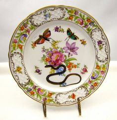 Snake Locust Grasshopper Altered Vintage Antique Porcelain Plate Chase and Scout Luxury Gothic. $95.00, via Etsy.