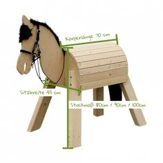 """Mini-Pony """"Bibi"""" Great fun with mini pony & nbsp; Mini-Pony """"Bibi"""" With our small and not at all stubborn mini-pony model """"Bibi"""" with a child-appropriate height of cm, even the little ones from the age of three can … Woodworking For Kids, Woodworking Projects, Wood Crafts, Diy And Crafts, Wood Projects, Projects To Try, Mini Pony, Wooden Horse, Hobby Horse"""