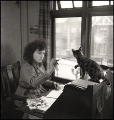 "oldtimeycats:  "" Source: National Portrait Gallery, London.  holdthisphoto:  "" Illustrator Erica Macdonald, 1947  • by John Gay  "" """