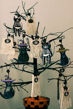 Ghostly Cat Halloween Clay Folk Art Ornament by KilkennycatArt, $10.50  Cats+Halloween=Awesome!