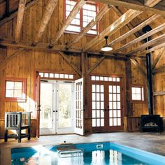 Oh my!  I knew there was a good reason why the hubby should clean out one of the barns!  Love this indoor swimming pool in a barn!!  http://www.thisoldhouse.com/toh/article/0,,1008291,00.html  #dream #home #barn #swimming #pool #indoor #rustic
