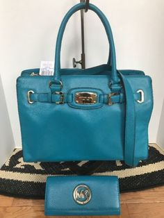 New! MICHAEL KORS HAMILTON TURQUOISE Blue  LEATHER LARGE East West Tote
