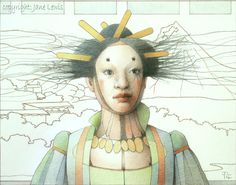 Geisha Doll (coloured pencil on paper) by Jane Lewis Jane Lewis, Many Faces, Geisha, Masquerade, Colored Pencils, Surrealism, Carnival, Dolls, Gallery