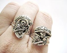 Sugar Skull Jewelry  Silver Sugar Skull Ring  door SpotLightJewelry