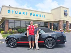 Mark Lawson, his new 2013 Ford Shelby GT500 Mustang, and his sales consultant, Kay Edgington