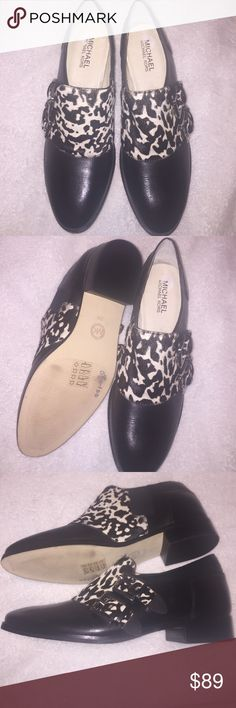 Michael Kors New without Box Shoes 🌺Sale🌺 Michael Kors Black Silver Buckle Strap shoes have real cow hair trim - no box MICHAEL Michael Kors Shoes Flats & Loafers