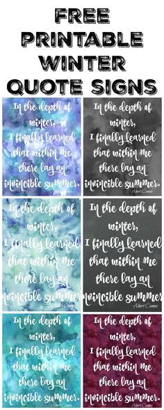 Free Printable Winter Quote Signs at thehappyhousie.com