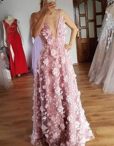 Gorgeous A Line Spaghetti Straps Long Prom Dress With Handmade 3D Flowers #Sexy Deep V Neck Evening Dress