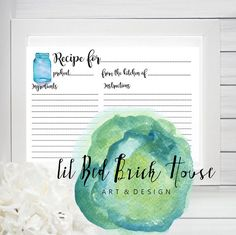 Recipe Template// Write On// Ball Mason jars// printable by LilRedBrickHouse Ball Mason Jars, Red Bricks, Hand Painted Signs, Home Art, Printables, Etsy Shop, Templates, Writing, Recipes