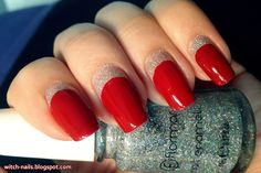red half moon manicure with glittery flormar nail polish