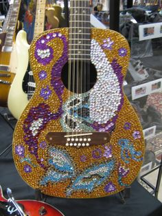 """A rare top-based edition of """"When Keeping it Inlaid Goes Wrong."""" Who ever did this does not know how guitars work. Blue Guitar, Guitar Girl, Cool Guitar, 12 String Guitar, Stars Play, Party Rock, Acoustic Guitars, Playing Guitar, Musical Instruments"""
