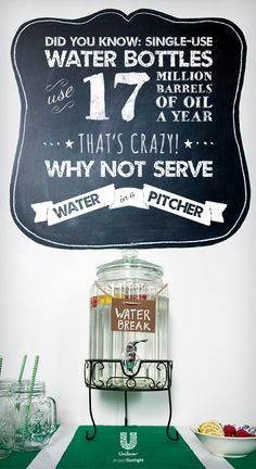 Did you know single use water bottles use 17 Million barrels of oil a year??  Green the Game and say no to water bottles