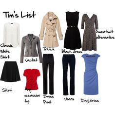Tim Gunn's List of Wardrobe Essentials.  Add some basic tops and accessories and mix well!!