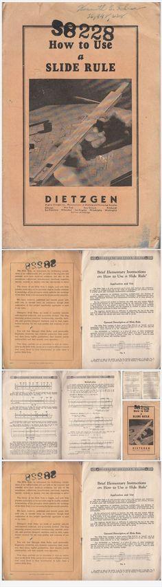 How to Use a Slide Rule 1948 Vintage Booklet Eugene Dietzgen Co Illustrated