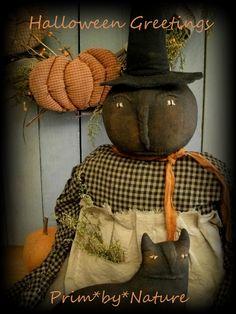 Primitive Witch Doll with cat  ~ Please visit me @ http://primbynature.com ~
