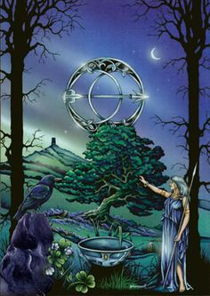"""Hawthorn by Peter Pracownik. """"The Hawthorn (Celtic name Huath) flowers at Beltane, the third and final rite of Spring. It celebrates the vanquishing of the Dark Lord of Winter and the advent of the rampant fertility of New Creation."""""""