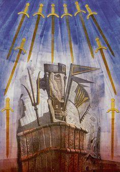 Ten of Swords - Akron Tarot by S.O. Huttengrund