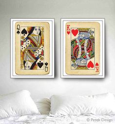 Unique Wedding Gift, Bedroom Walls 2 Big Posters King and Queen Playing Cards Prints, Bedroom Decor, Fits to IKEA's frames Bedroom Wall, Bedroom Decor, Master Bedroom, Bedroom Posters, Bedroom Ideas, Royal Bedroom, Headboard Ideas, Headboards, Bedroom Designs