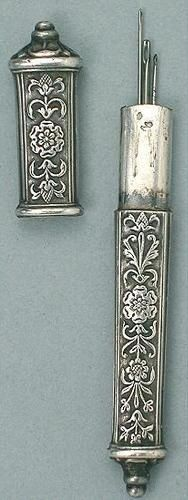 Antique French Silver Needle Case w/ Floral Design * Circa 1890