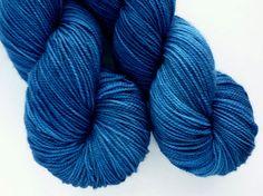 Hand Dyed Yarn - Superwash Merino Sock Weight in Blue Gentian Colorway