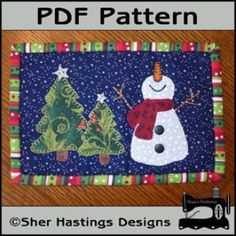 PDF Pattern for Happy Snowman Mug Rug, Christmas Mug Rug Pattern, Snowman Mini Quilt Pattern - Tutorial, DIY Christmas Mug Rugs, Christmas Applique, Christmas Sewing, Christmas Minis, Christmas Crafts, Xmas, Christmas Quilting, Christmas Fabric, Christmas Snowman