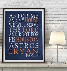 "Houston Astros baseball inspired Personalized Customized Art Print- ""As for Me"" Parody- Unframed Print"