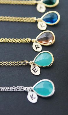 Personalize necklace pendants from Earrings Nation. Such a perfect gift for your bridesmaids. https://www.etsy.com/listing/208453675/initial-personalized-necklace-with-glass