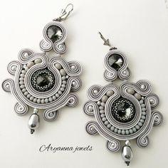 Soutache Earrings, Beaded Earrings, Earrings Handmade, Beaded Jewelry, Handmade Jewelry, Jewelry Crafts, Jewelery, Fashion Jewelry, Jewelry Making