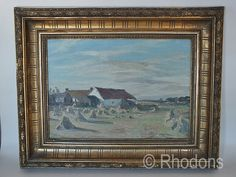 Original oil painting by J A Riddel ARSA,RSW depicting a rural landscape scene with cottages and corn stacks.
