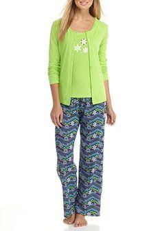 Kim Rogers® 3-Piece Snowflake Chevron Pajama Set