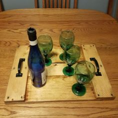 wooden tray wooden serving tray drinks by PalletiumWoodWorks