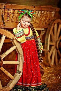 Child, kid, Russian style, sundress