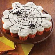 Create this web of cupcakes for your next Halloween party. Sure to please everyone!