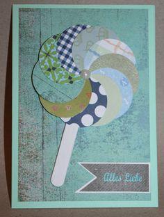 Bastelanleitung Grußkarte Lolli mit blauen & grünen Papieren