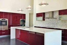cuisine laquée en blanc et rouge